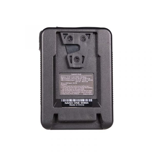 FXLION Nano One Ultra Compact 50Wh V-Mount Battery - reverse