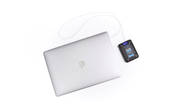 XLION Nano Two Ultra Compact 98Wh V-Mount Battery - charging laptop